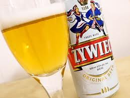 Zywiec beer can and glass